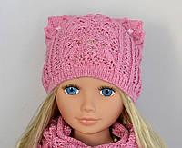 Ажурная шапка с ушками для девочки , фото 1