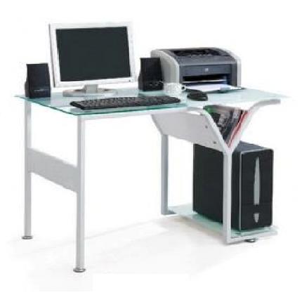Стол компьютерный ST-S1279 проз.+бел.стекло/бел. МДФ/бел.метал., фото 2