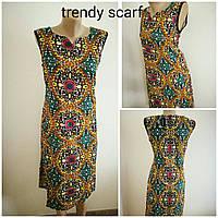 Женское летнее платье сарафан. Орнамент. Красный желтый коричневый зеленый белый черный. Хлопок. Индия