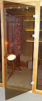 Двери для бани стеклянные с деревянной ручкой 190х80