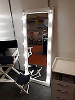 Большое гримерное зеркало с подсветкой, белое, дерево
