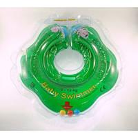 Круг на шею ТМ Baby Swimmer с погремушками. Вес 3 - 12 кг Зеленый
