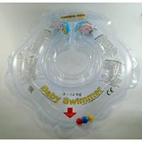 Круг на шею ТМ Baby Swimmer с погремушками. Вес 3 - 12 кг Прозрачный