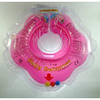 Круг на шею ТМ Baby Swimmer с погремушками. Вес 3 - 12 кг Розовый