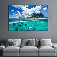 Картина - подводный мир. Кристально чистое море и скалы