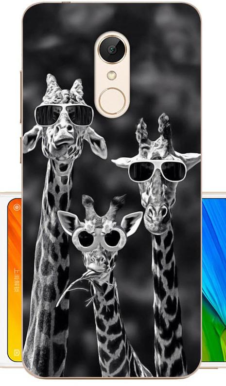Оригинальный силиконовый бампер для Xiaomi Redmi 5 с рисунком три жирафа