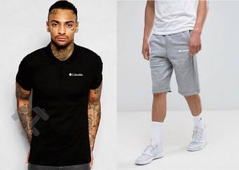 Мужской комплект поло + шорты Columbia серого и черного цвета