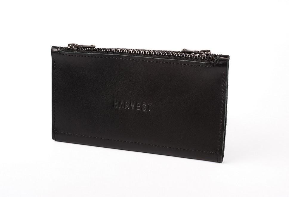 5d96853d139f Кожаный кошелек двойной DOUBLE BLACK HARVEST черный (гаманець, мужской  кошелек, женский кошелек,