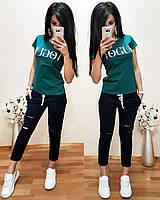 Костюм спортивный футболка и штаны 7/8, можно отдельно р.42-56