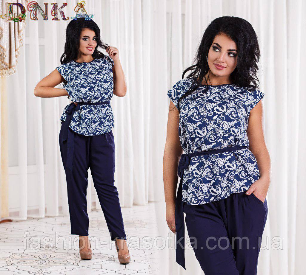 Модный летний штапельный костюм блуза +брюки