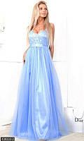 Шикарное вечернее женское платье в пол на бретелях голубое атлас стрейч