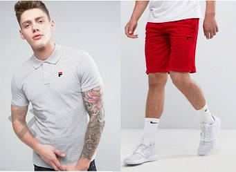 Мужской комплект поло + шорты FILA серого и красного цвета (люкс копия)
