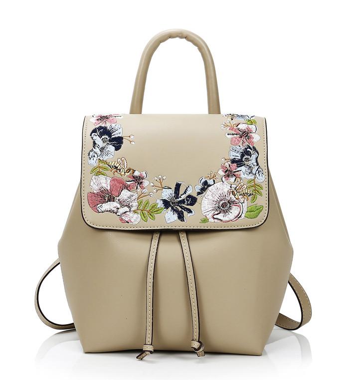 ae411cdff021 Рюкзак сумка городской женский из эко кожи с вышивкой (бежевый) -  Интернет-магазин