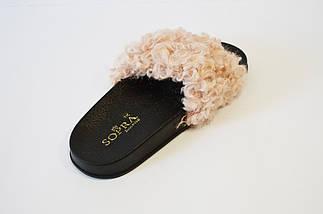 Шлепанцы женские с мехом пудра Sopra PM16, фото 2