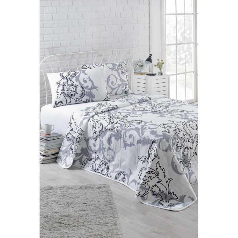 Покрывало стеганное с наволочкой Eponj Home B&W - Mare beyaz белый 160*220 см