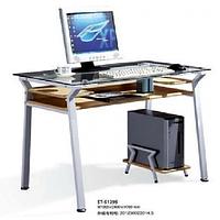 Стол компьютерный ST-S1295 сер.стекло/выбел.дуб МДФ/серый метал.