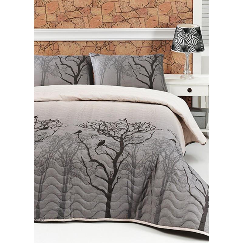 Покрывало стеганное с наволочкой Eponj Home - Bird gri серый 160*220 см