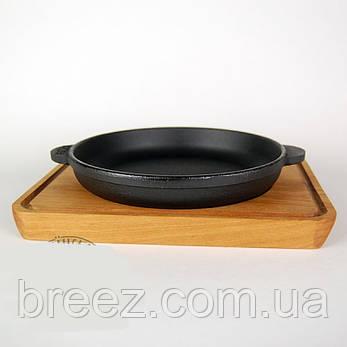 Сковорода чугунная на деревянной подставке 14 см, фото 2