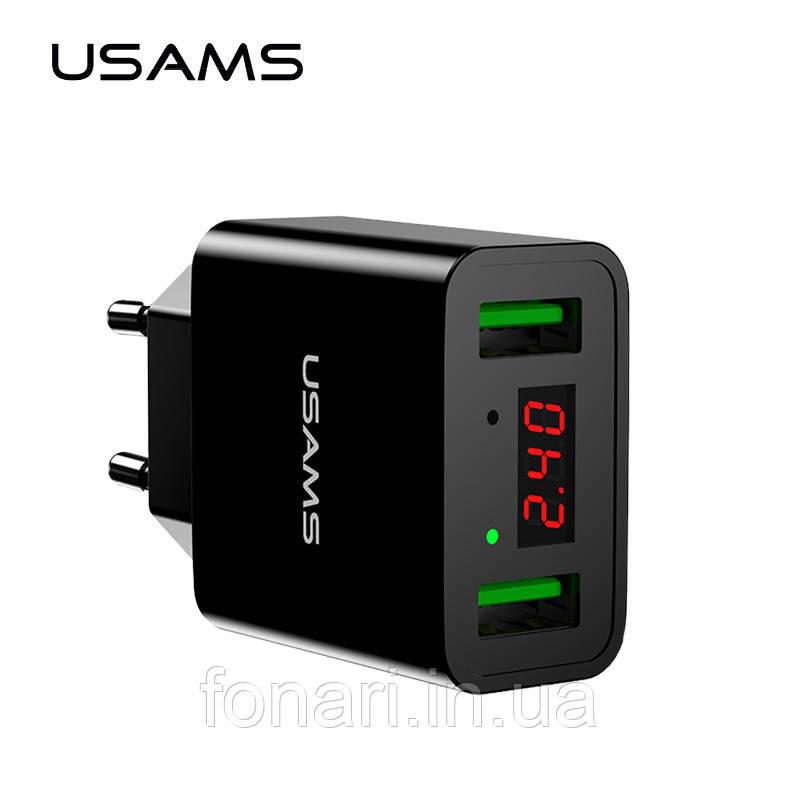 USAMS US-CC040 Универсальное зарядное устройство от сети для USB-устройств на 2 порта (ток 2.2A) for Apple