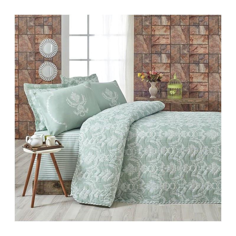 Покрывало стеганное с наволочкой Eponj Home - Pure SuYesil зеленый 160*220 см