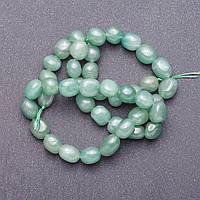 Бусины на нитке натуральный камень Нефрит округлая галтовка d-6-9мм L-39м