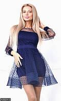 Синее нарядное женское платье с расклешенной юбкой сетка флок