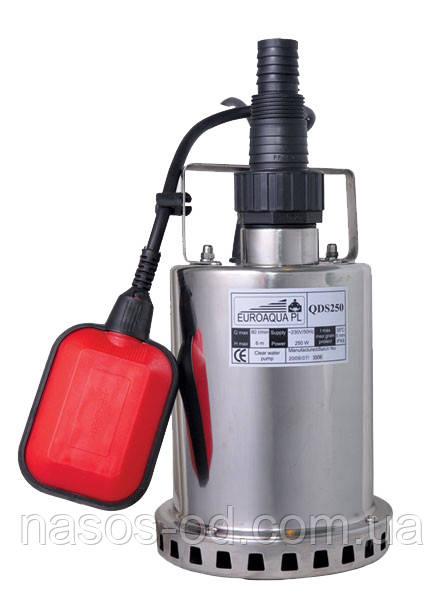 Дренажный насос Euroaqua QDS 250 садовый для колодцев 0.25кВт Hmax6м Qmax85л/мин. (нержавейка)