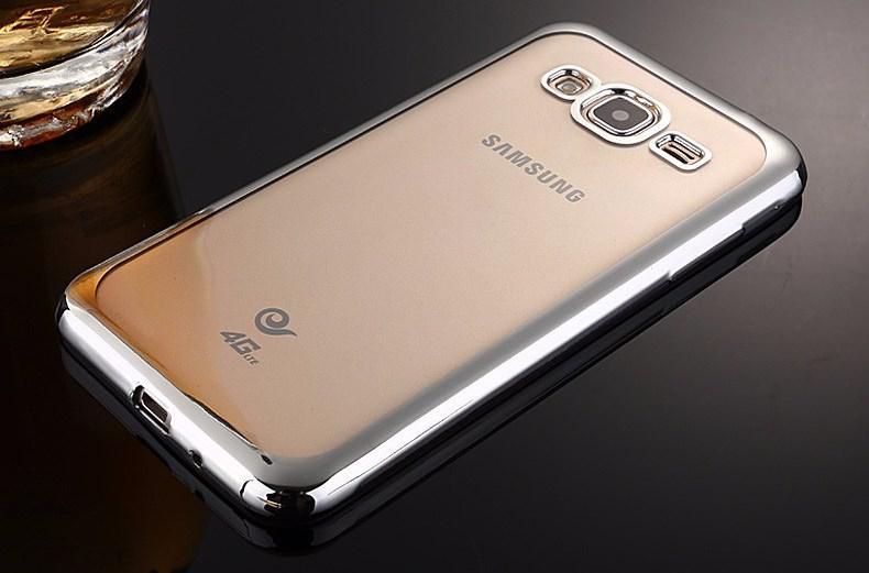 Чехол Frame для Samsung J5 2015 / J500H / J500 / J500F Бампер силиконовый Silver