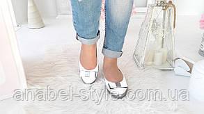 Балетки жіночі з натуральної шкіри білого кольору прикрашені бантиком Код 1481 AR, фото 2