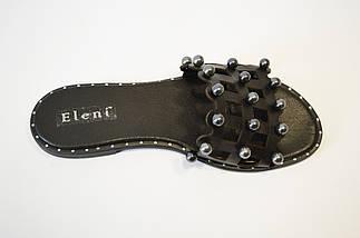 Шлепанцы женские кожаные черные Eleni 112, фото 2