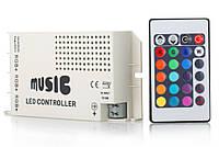 Музыкальный контроллер с ПДУ для 3-х RGB-лент на светодиодах (LED), фото 1