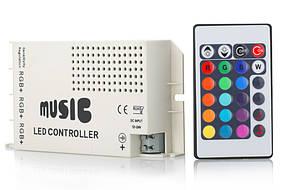 Музыкальный контроллер с ПДУ для 3-х RGB-лент на светодиодах (LED)