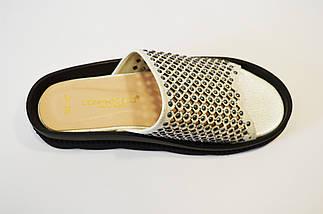 Шлепанцы перфорированные серебристые Donna Ricco, фото 3