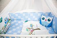"""Комплект в кроватку """"CUTE OWLS синий"""