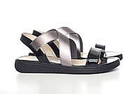 Villomi Стильные черные сандалии с серебренной резинкой
