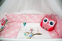 """Комплект в кроватку """"CUTE OWLS розовый"""