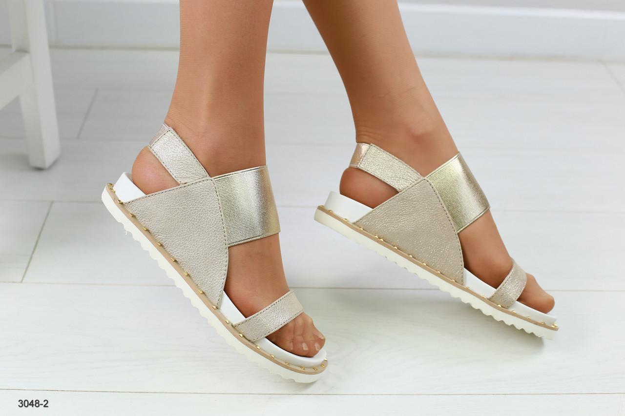 fa59b9c0ece0 Женские кожаные босоножки, на низком ходу, золотистые - Интернет-магазин  обуви Vzuto.