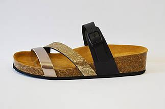 Шлепанцы кожаные черно-золотистые Presso, фото 2