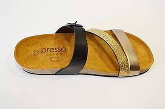 Шлепанцы кожаные черно-золотистые Presso, фото 3