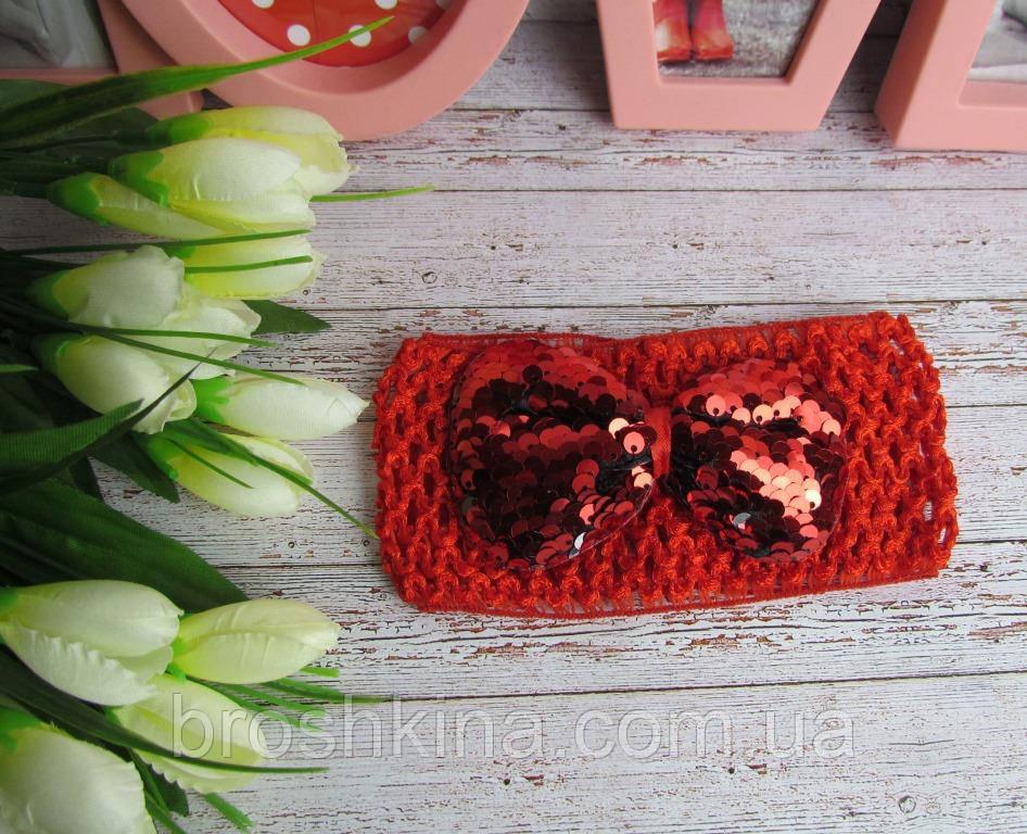 Детская ажурная повязка на голову с бантиком в пайетках красная