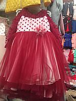 """Платье детское нарядное в """"горох"""" с пышной фатиновой юбкой на девочку только опт"""