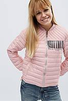 Женская демисезонная короткая куртка-бомбер из стеганной ткани