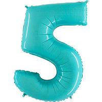 Фольгированная голубая цифра  5 - 100 см. Гелиевые шарики. Гелиевые шары Киев. Гелиевые шары Троещина.