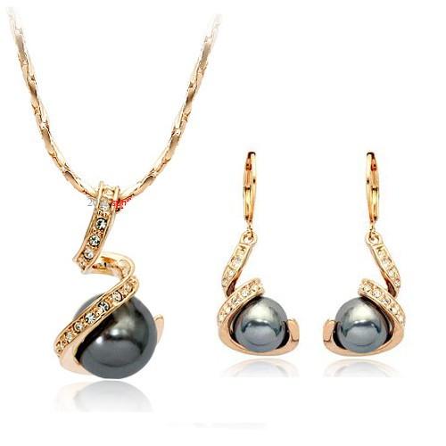 Комплект сережки кулон ЧОРНА ПЕРЛИНА ювелірна біжутерія золото 18к декор перли