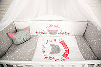 """Комплект в кроватку """"CUTE OWLS серый"""