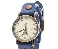 """Наручные часы ретро унисекс """"Ейфелева Башня"""" синие, фото 1"""