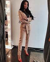 Женский костюм пиджак и брюки с кожаным отложным воротником