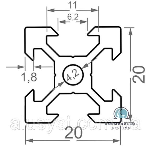 Станочный профиль ЧПУ станка| анод , 20х20 V-образный