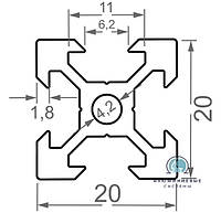 Алюминиевый станочный профиль  20х20 / б.п. v-слот