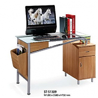 Стол компьютерный ST-S1309 ПРОЗР.+БЕЛ.СТЕКЛО/СВЕТЛЫЙ ОРЕХ МДФ/СЕРЕБРИСТЫЙ метал.